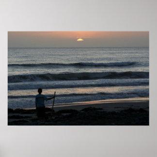 Observación del poster de la puesta del sol