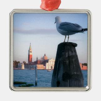 Observación para los gondalas en Venecia Adorno Navideño Cuadrado De Metal