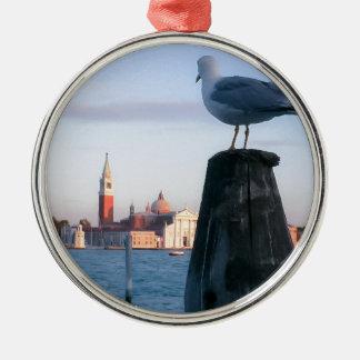 Observación para los gondalas en Venecia Adorno Navideño Redondo De Metal