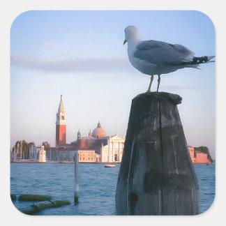 Observación para los gondalas en Venecia Pegatina Cuadrada