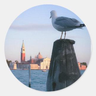 Observación para los gondalas en Venecia Pegatina Redonda