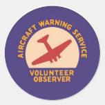Observador del voluntario del servicio amonestador etiquetas redondas
