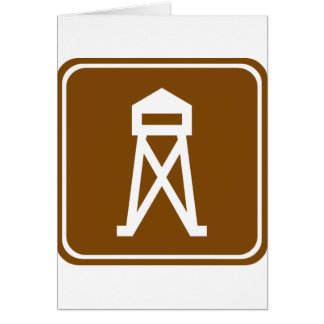 Observation Tower Highway Sign Greeting Card