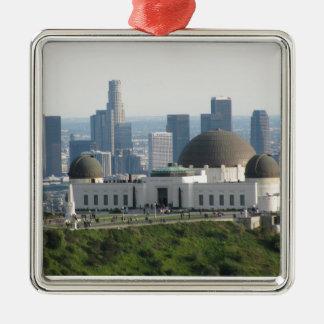 Observatorio de Griffith y Los Ángeles céntrico Adorno Navideño Cuadrado De Metal