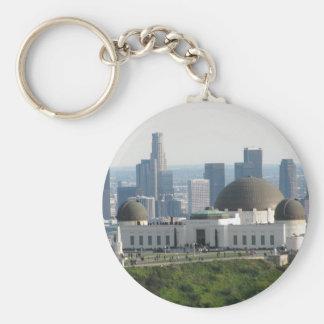 Observatorio de Griffith y Los Ángeles céntrico Llavero Redondo Tipo Pin
