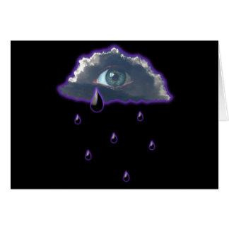 observe en el cielo con los rasgones de la lluvia tarjeta de felicitación