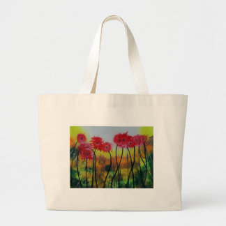 Observing Red Flowers Large Tote Bag