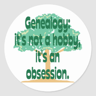 Obsesión de la genealogía etiquetas redondas