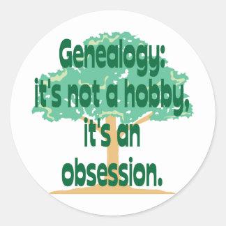 Obsesión de la genealogía pegatina redonda