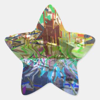 Obsesión gráfica pura abstracta de Digitaces de la Pegatina Forma De Estrella