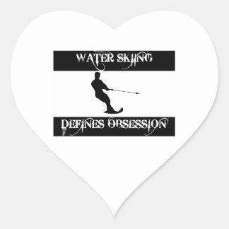obsesionado con el esquí acuático pegatina en forma de corazón