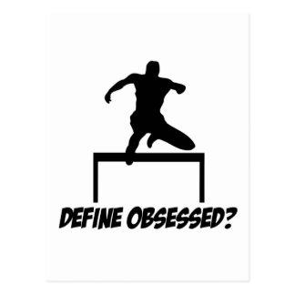 obsessed hurdle design postcard
