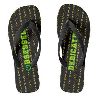 Obsessed or dedicated binary pattern black flip flops