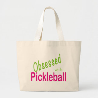 Obsessed with Pickleball Large Tote Bag