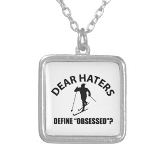 obsessed with skiing personalized necklace