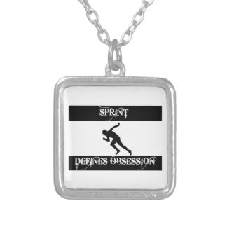obsessed with sprinting silver plated necklace