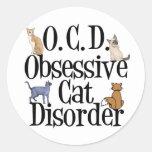 Obsessive Cat Disorder Classic Round Sticker