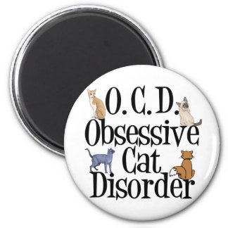 Obsessive Cat Disorder 2 Inch Round Magnet