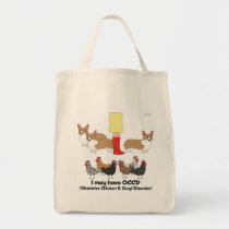 Obsessive Chicken & Corgi Disorder Tote Bag
