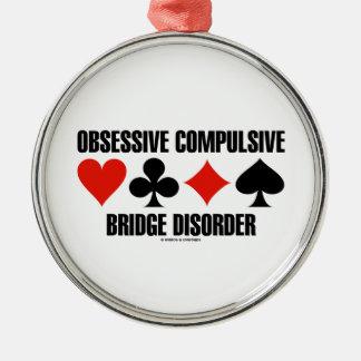 Obsessive Compulsive Bridge Disorder (OCBD) Round Metal Christmas Ornament