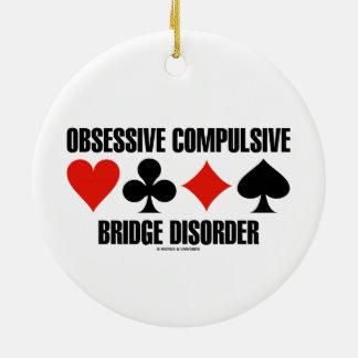 Obsessive Compulsive Bridge Disorder (OCBD) Double-Sided Ceramic Round Christmas Ornament