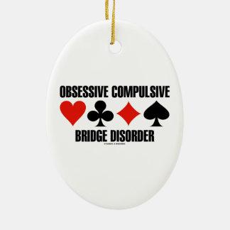 Obsessive Compulsive Bridge Disorder (OCBD) Double-Sided Oval Ceramic Christmas Ornament