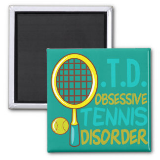 Obsessive Tennis Disorder Teal Yellow Cute 2 Inch Square Magnet