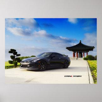 """""""Obsidiana"""" Nissan GT-R R35 con el carbono Poster"""