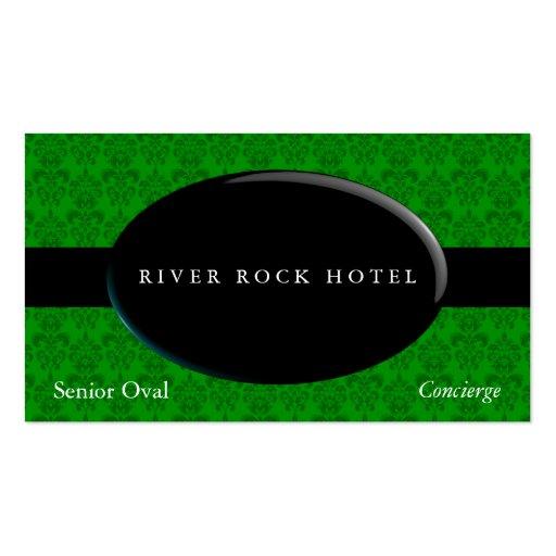 Obsidiana oval en el damasco verde tarjetas de visita