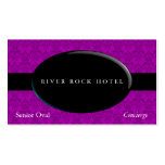 Obsidiana oval en el damasco violeta plantilla de tarjeta de visita