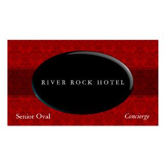 Obsidiana oval en el tipo rojo 42 del damasco plantilla de tarjeta personal