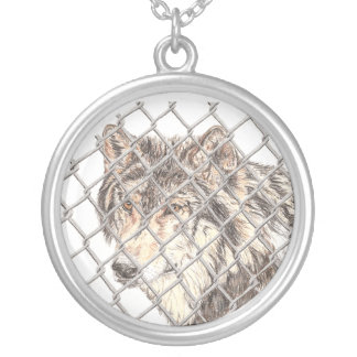 Obstacle Wolf Round Pendant Necklace