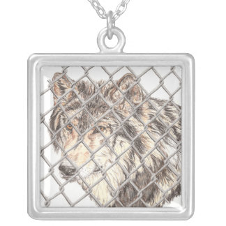 Obstacle Wolf Square Pendant Necklace