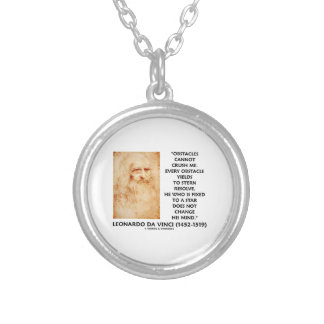 Obstacles Cannot Crush Me Fixed To A Star Quote Round Pendant Necklace