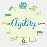 Obstáculos de la agilidad etiquetas redondas