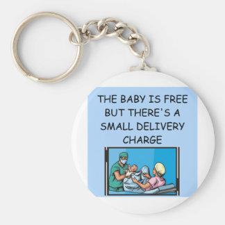 obstetrian joke basic round button keychain