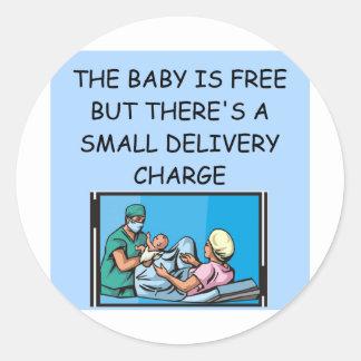 obstetrian joke classic round sticker