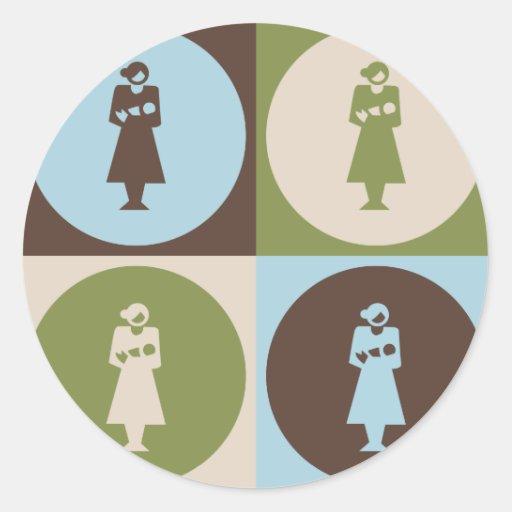 Obstetricia del arte pop pegatina redonda