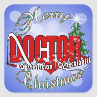 OBSTETRICIAN / GYNECOLOGIST CHRISTMAS DOCTOR SQUARE STICKER