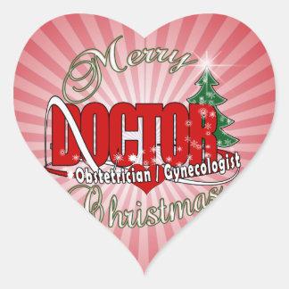 OBSTETRICIAN / GYNECOLOGIST CHRISTMAS DOCTOR HEART STICKER