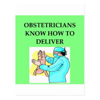 obstetrician joke postcard