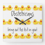 Obstetricians and Yellow Rubber Ducks Wall Clock