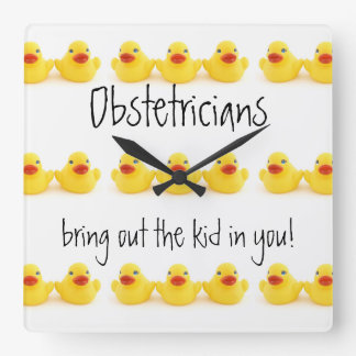 Obstetricians Yellow Rubber Ducks Trio Square Wall Clock