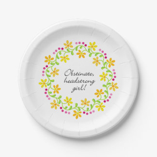 Obstinate headstrong girl Austen Pride & Prejudice Paper Plate