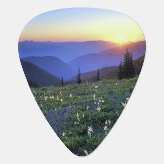 Obstruciton Point Sunset, Olympic NP, WA, USA Guitar Pick