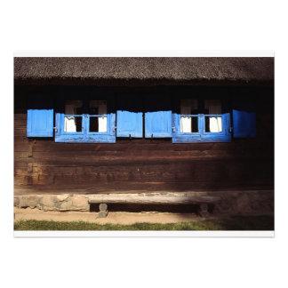 Obturadores azules de la ventana - invitación