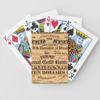 Obverse of a $10 National Gold Bank Note ca. 1870 Bicycle Playing Cards