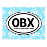 OBX Outer Banks NC Blue Postcard
