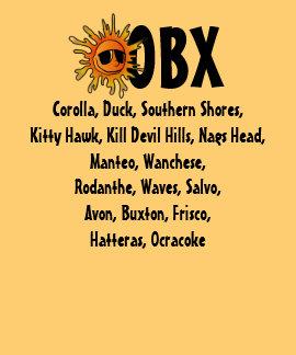 OBX Outer Banks NC con la ciudad de la playa nombr Camisetas
