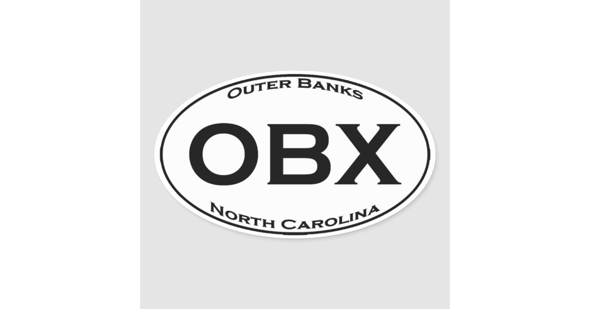 Obx Outer Banks Nc Euro Style Oval Logo Oval Sticker